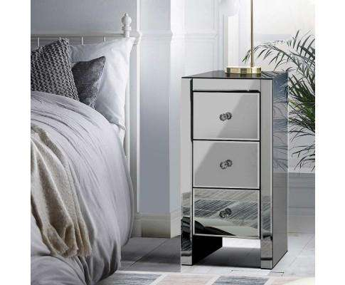 Artiss Mirrored Bedside Tables - Grey