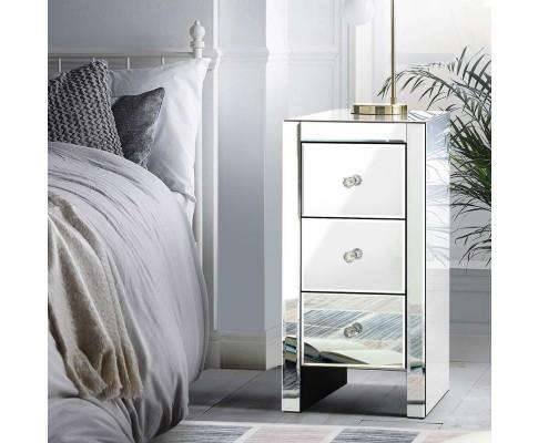 Mirrored Bedside Table - Silver
