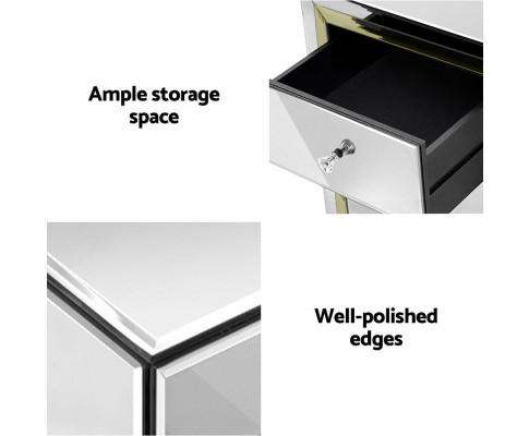 Artiss Mirrored Furniture Bedside Table Chest Drawers Gloss Nightstand
