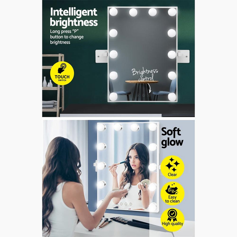Hollywood Wall mirror Makeup Mirror With Light Vanity 12 LED Bulbs