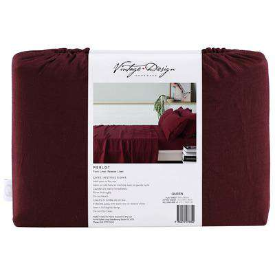Vintage Design Merlot French 100% Linen Sheet Set