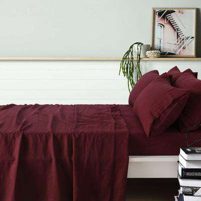 Vintage Design Merlot French Linen Sheet Set