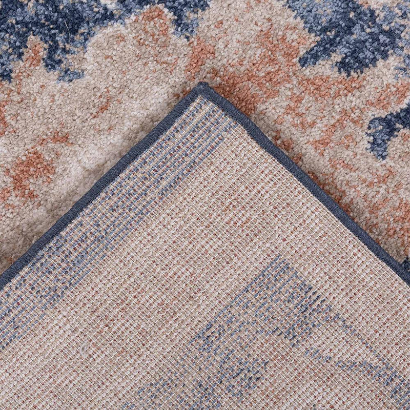 Traditional Distressed Vintage Damask Floor Rug, Blue Beige Modern Weave- Rugaustralia
