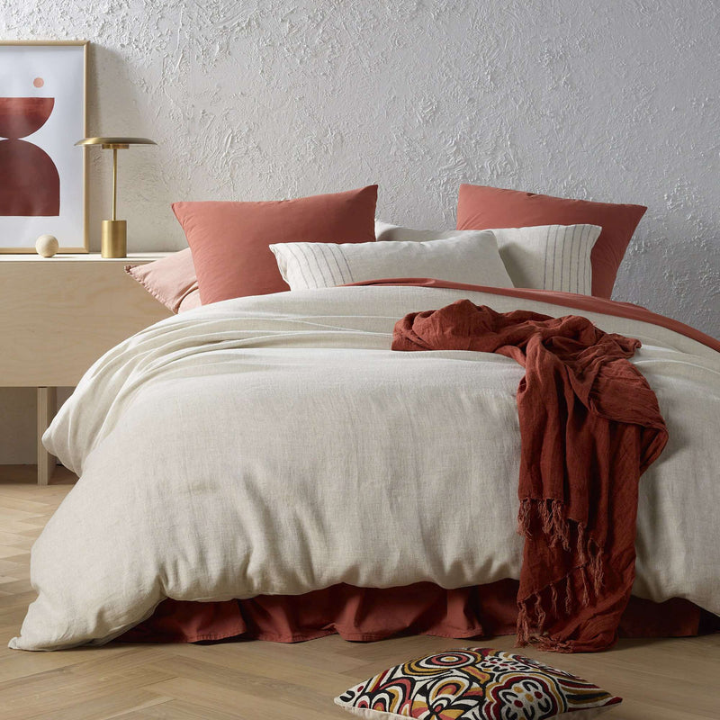 Vintage Design Sentosa Yarn Dyed Linen Natural Quilt Cover Set