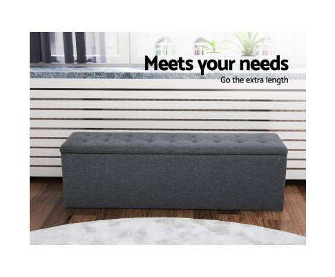 Artiss Storage Ottoman Blanket Box Linen Foot Stool Rest Chest Couch Grey