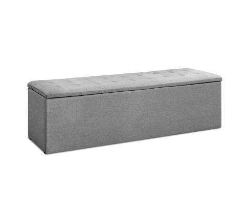 Artiss Storage Ottoman Blanket Box Grey LARGE Fabric Rest Chest Toy Foot Stool