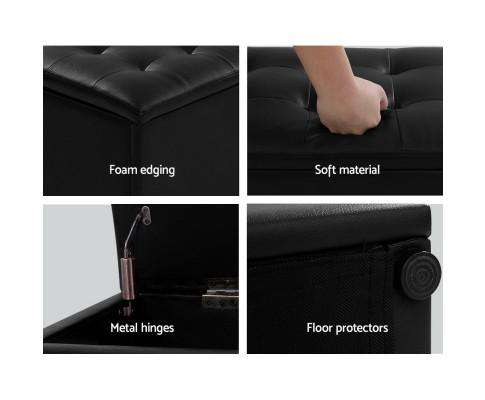 Artiss Storage Ottoman Blanket Box Black LARGE Leather Rest Chest Toy Foot Stool