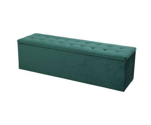 Storage Ottoman Blanket Box Velvet Foot Stool Rest Chest Couch Green