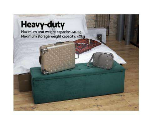 Artiss Storage Ottoman Blanket Box Velvet Foot Stool Rest Chest Couch Green