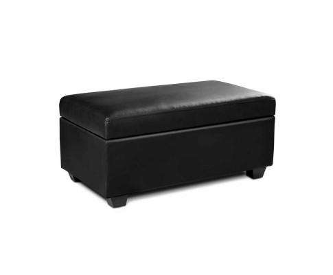 Artiss Faux PU Leather Storage Ottoman - Black