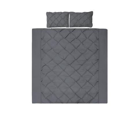 Giselle Diamond Pintuck Quilt Cover Set - 4 Colours-Quilt Cover-Giselle-Queen-Charcoal-Big Bedding Australia