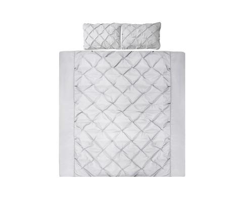 Giselle Diamond Pintuck Quilt Cover Set - 4 Colours-Quilt Cover-Giselle-Queen-Grey-Big Bedding Australia
