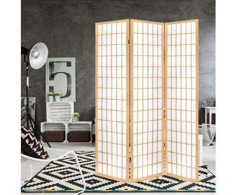 3 Panel Wooden Room Divider - Natural