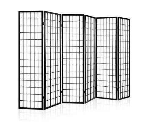 Artiss 6 Panel Room Divider Privacy Screen Foldable Pine Wood Stand - Black