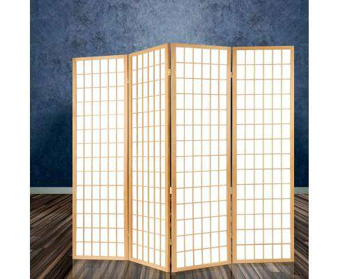 Artiss 6 Panel Room Divider Privacy Screen Foldable Pine Wood Stand - Natural