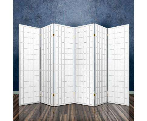 Artiss 6 Panel Room Divider Privacy Screen Foldable Pine Wood Stand - White