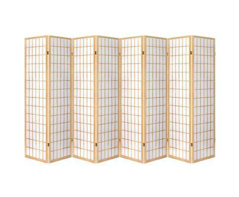8 Panel Room Divider Privacy Screen Dividers Stand Oriental Vintage - Natural