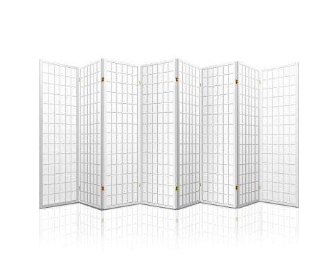 8 Panel Room Divider Privacy Screen Dividers Stand Oriental Vintage - White
