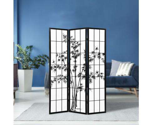 3 Panel Room Divider Screen Privacy Dividers Pine Wood Stand Shoji Bamboo Black - White