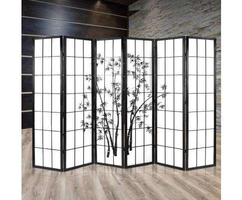 Artiss 6 Panel Room Divider Screen Privacy Dividers Pine Wood Stand - Black