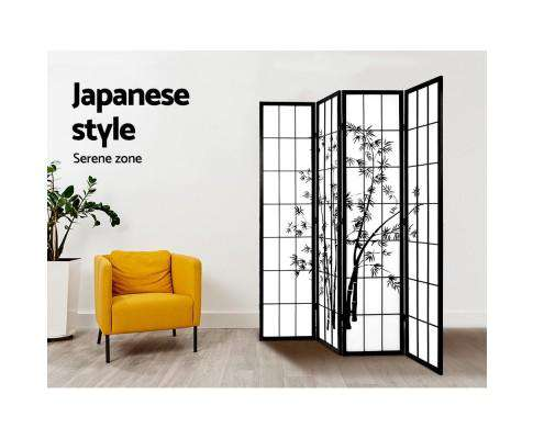 Artiss 4 Panel Room Divider Screen Privacy Dividers Pine Wood Stand Shoji Bamboo - Black