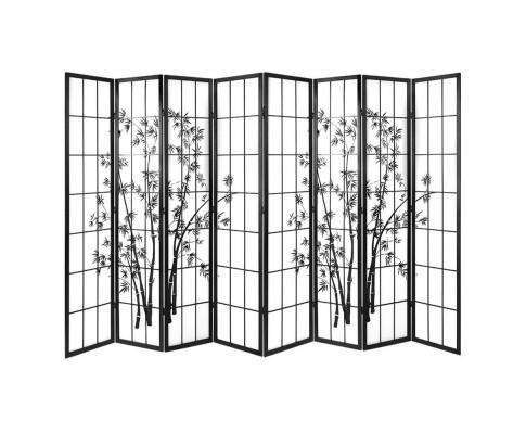 Artiss 8 Panel Room Divider Screen Privacy Dividers Pine Wood Stand Shoji Bamboo - Black