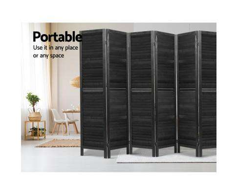 Artiss 6 Panel Room Divider Screen Privacy Wood Dividers Timber Stand - Black