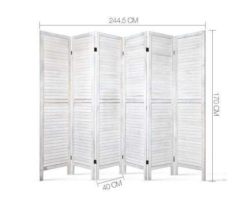 Artiss 6 Panel Room Divider Privacy Screen Foldable Wood Stand - White