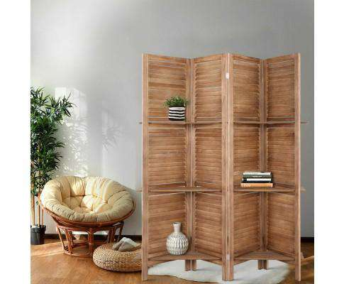 Artiss Room Divider Privacy Screen Foldable Partition Stand 4 Panel - Brown
