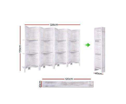 Artiss Room Divider Screen 8 Panel Privacy Foldable Dividers Timber Stand Shelf - White