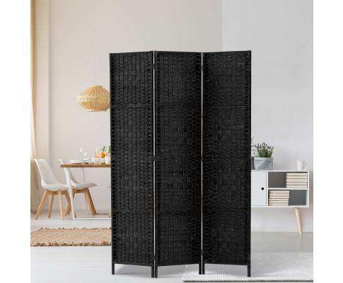 Artiss 3 Panel Room Divider Privacy Screen Rattan Woven Wood Stand - Black
