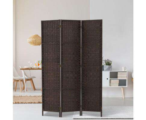 Artiss 3 Panel Room Divider Privacy Screen Rattan Woven Wood Stand - Brown