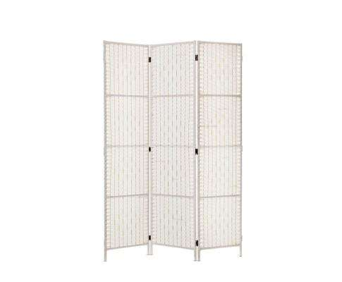 3 Panels Room Divider Screen Privacy Rattan Timber Fold Woven Stand - White