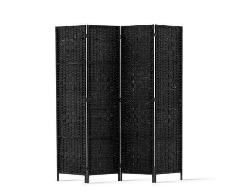Artiss Rattan 4 Panel Foldable Wooden Room Divider - Black