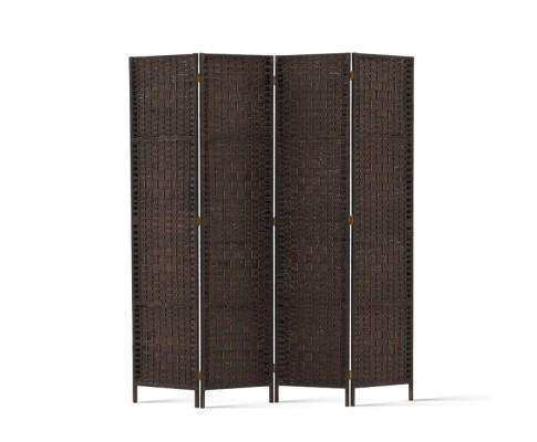Rattan 4 Panel Foldable Wooden Room Divider - Brown