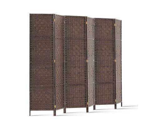 Artiss 6 Panel Foldable Wooden Room Divider - Brown