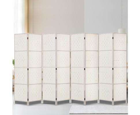 8 Panels Room Divider Screen Privacy Rattan Timber Fold Woven Stand - White