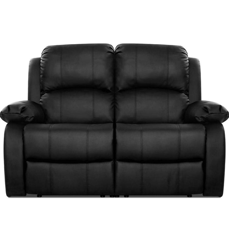 Artiss Recliner Chair 2-Seater Premium Leather Double Lounge Sofa Couch Black