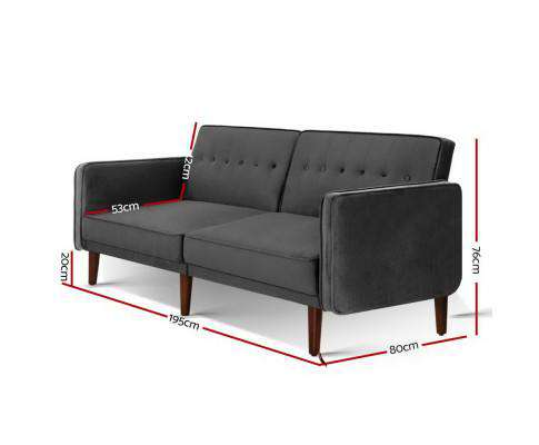 Artiss Sofa Bed Lounge 3 Seater Futon Couch Recline Chair Wood 195cm Velvet Dark Grey