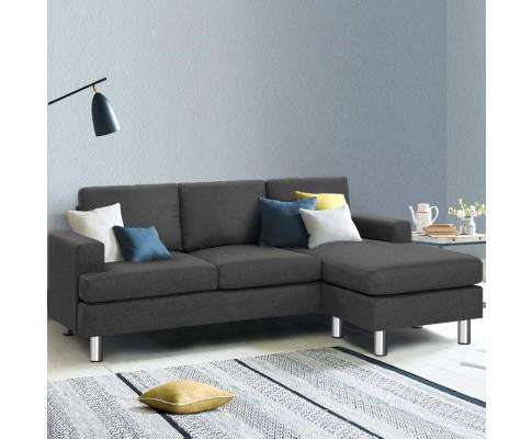 Artiss Corner Chaise Fabric - Dark Grey
