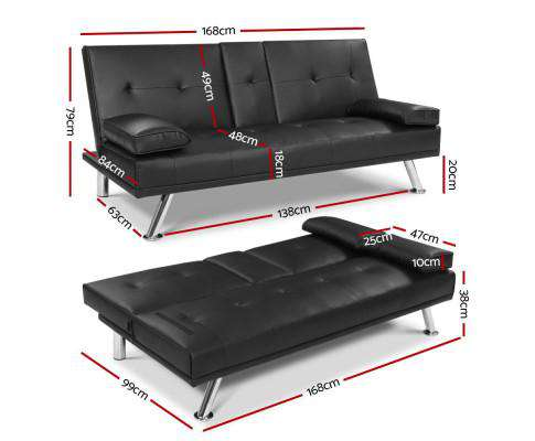 Sofa Bed Lounge Futon Couch 3 Seater Leather Cup Holder Recliner