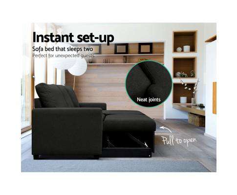 Artiss 3 Seater Fabric Sofa Bed with Storage - Charcoal