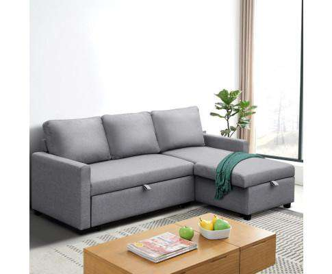 Artiss 3 Seater Fabric Sofa Bed with Storage - Grey
