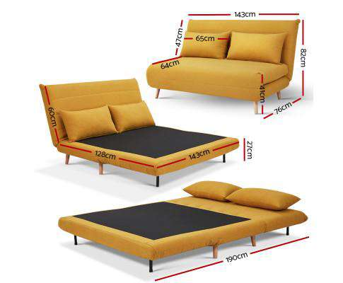 Artiss Sofa Bed Lounge Adjustable Seater Futon Couch Recliner Folding Linen Fabric