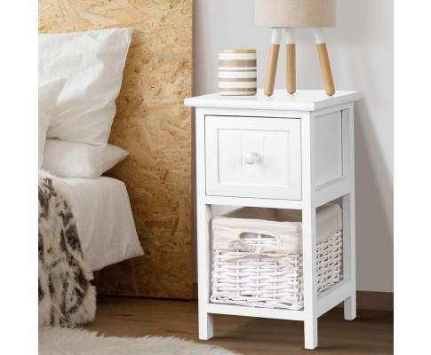 Artiss Twin Pack Budget Bedside Table - White