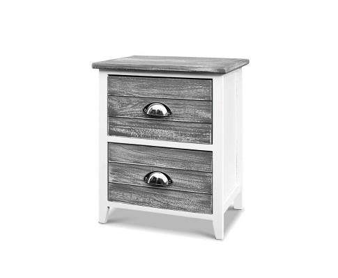 Two Bedside Table - Grey