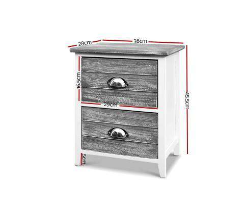 Artiss Two Bedside Table - Grey