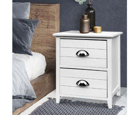 Artiss Twin Pack Bedside Table Two Drawers - White