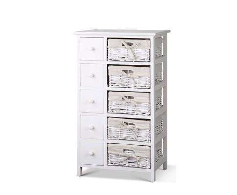 Five Basket Storage Drawers - White