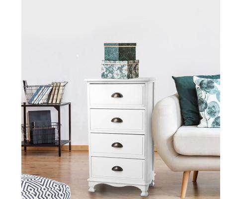 Vintage Bedside Table Four Drawers - White